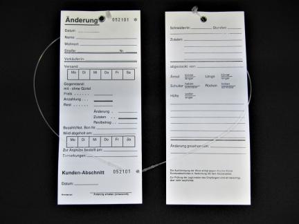 Änderungskarten mit Steckfäden