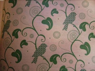 Geschenkpapier Vögel Blumenranke Vintage