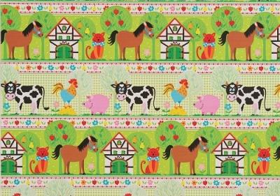 Geschenkpapier Kinder - Bauernhof Tiere