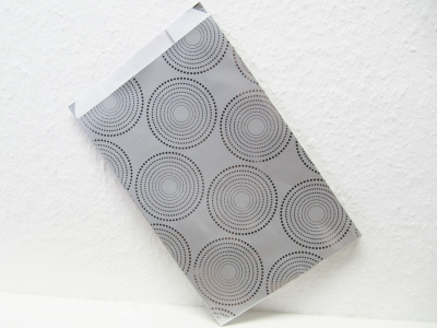 Flachbeutel Geschenkpapiertaschen Motiv / Design  Kreise  Metallic Silber