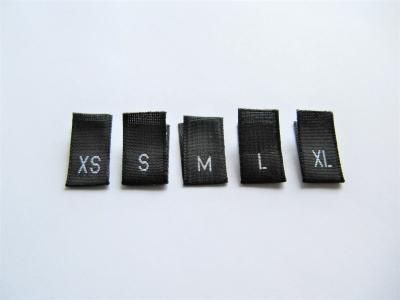 Größenetiketten, Kleidergrößen, Konfektionsgrößen - International - schwarz