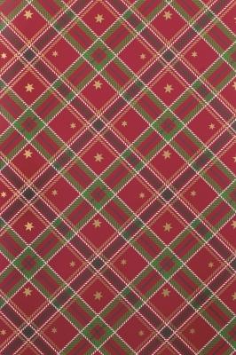 Geschenkpapier Weihnachten Rot/Grün - Sterne gold Schottenmuster