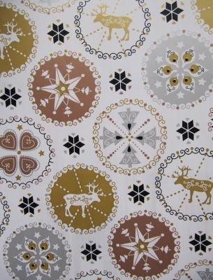 Geschenkpapier Weihnachten weiß - Elch und Schneeflocken
