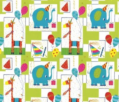 Geschenpapier Kinder - Elefant und Giraffe feiern Geburtstag