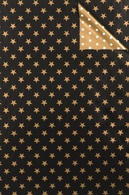 Geschenkpapier Weihnachten gold/schwarz Sterne