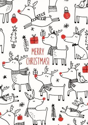Geschenkpapier Weihnachten - Rote Nase Elch