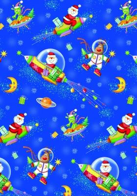Geschenkpapier Weihnachten - Raumfahrt