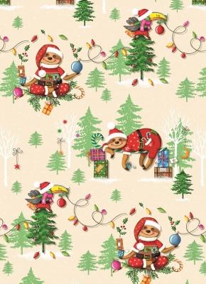 Geschenkpapier Weihnachten - Weihnachtsfaultier