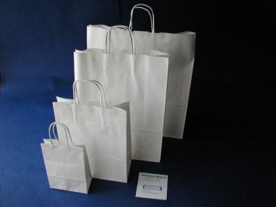 Papiertaschen WEIß Papierkordelgriff