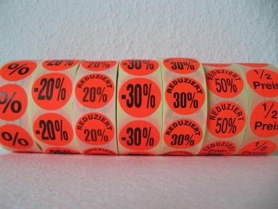 Aktionsetiketten 20% - 30% - 50% - % - 1/2 Preis