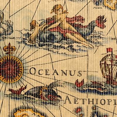 Geschenkpapier  Ozean Weltmeere Antik  Kraftpapier