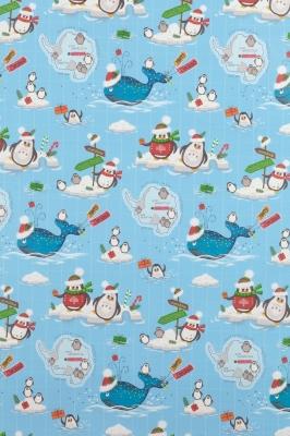Geschenkpapier Weihnachten Eisblau - Pinguine und Wal