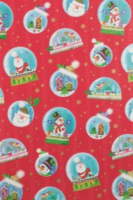 Geschenkpapier Weihnachten Rot - Schneekugeln