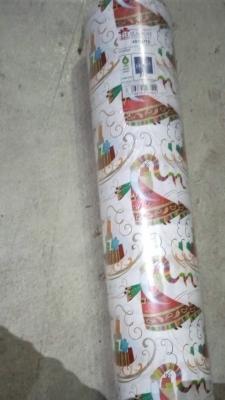 Geschenkpapier Weihnachten Weiß/Bunt - Weihnachtsmann mit Schlitten