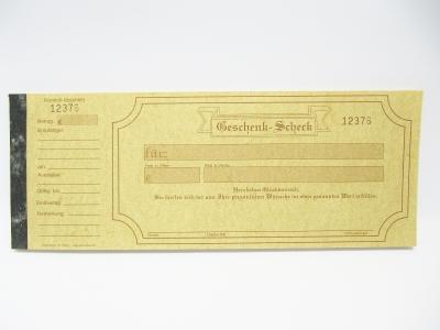 Geschenkgutschein Scheck mit Kontrollabschnitt Ocker