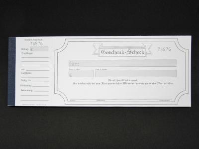Geschenkgutschein Scheck mit Kontrollabschnitt weiß