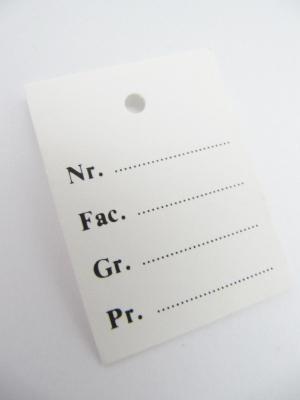 Kartonetiketten Nr. Fac. Gr. Pr. 30x40 mm